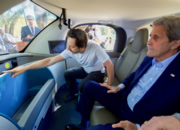 Sergei Brin shows John Kerry a self-driving car.