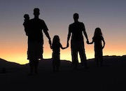 A family in silhouette