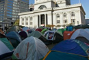 tents in front of city hall