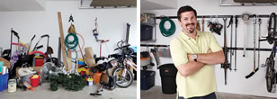 A man is finished cleaning up his garage.